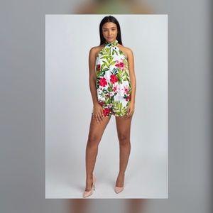 Tropical Print halter next top short set